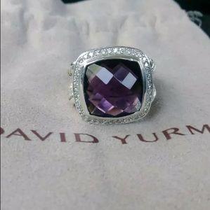 DAVID YURMAN ALBION RING AMETHYST DIAMONDS 14mm